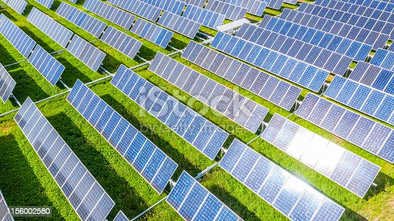 Solar panels in aerial view, Renewable energy with photovoltaic panels.