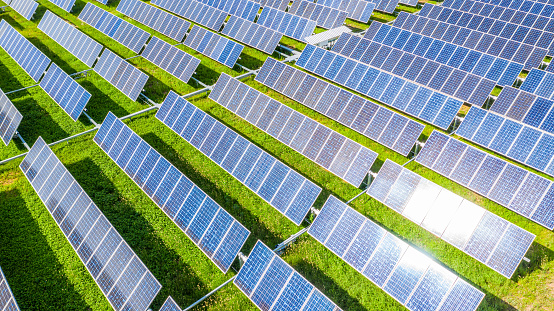 Solar Panels In Aerial View Renewable Energy With Photovoltaic Panels Stock Photo - Download Image Now