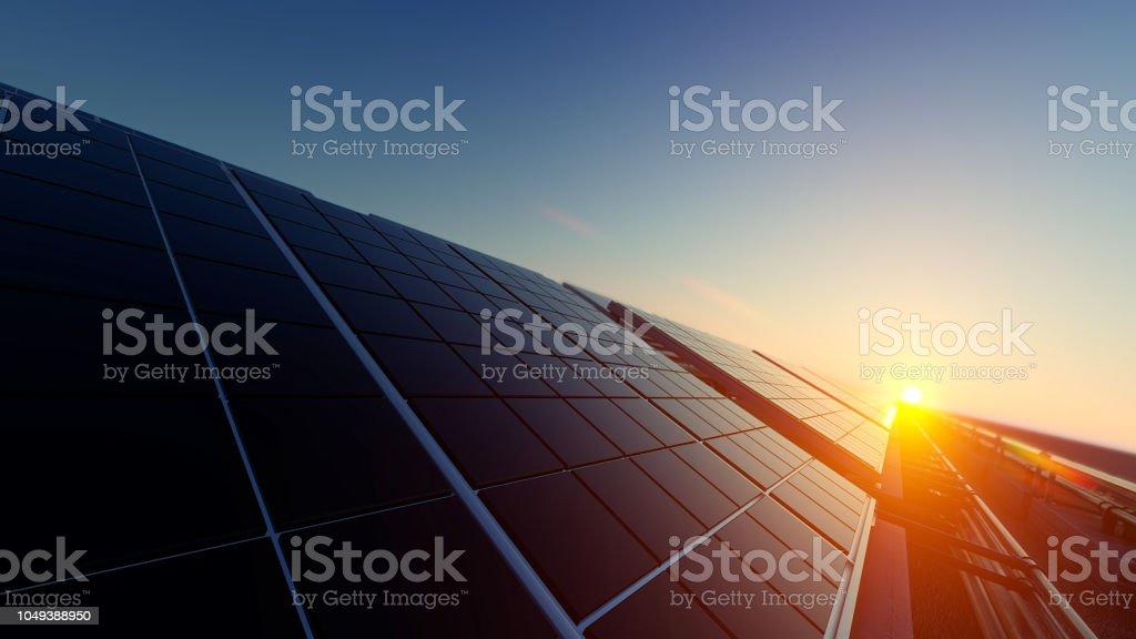 희미 한 빛 속에 태양 전지 패널 - 로열티 프리 0명 스톡 사진