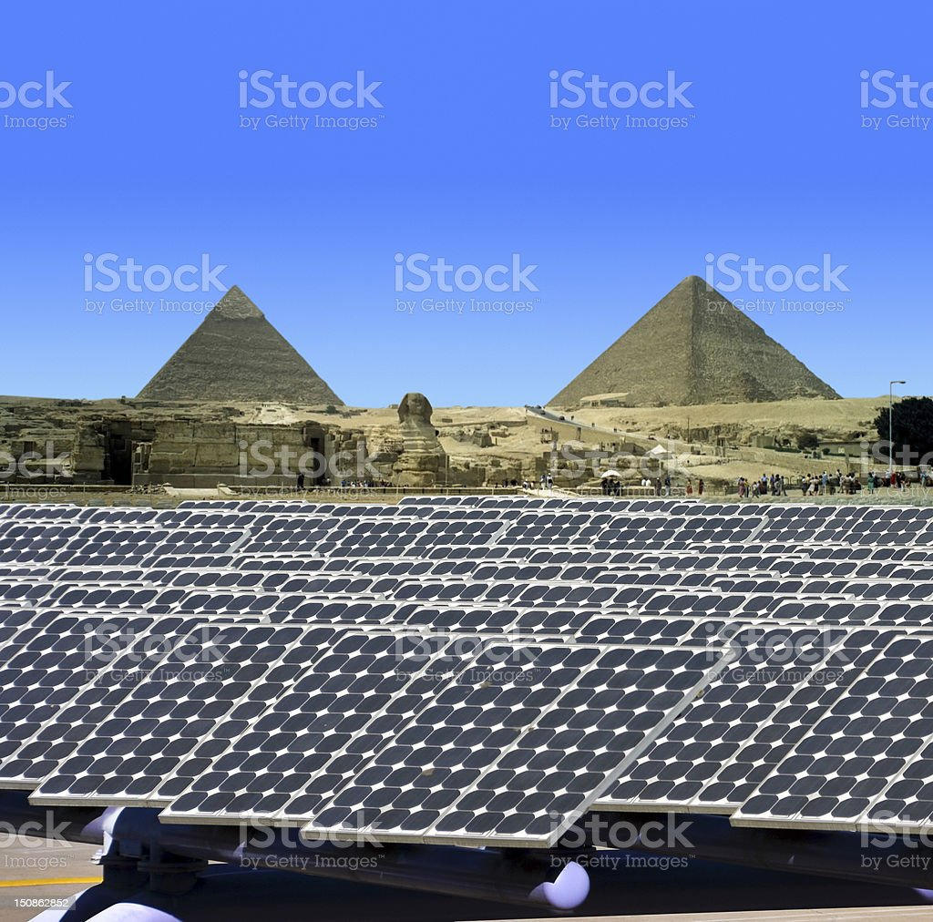 Solar panels in Egypt stock photo