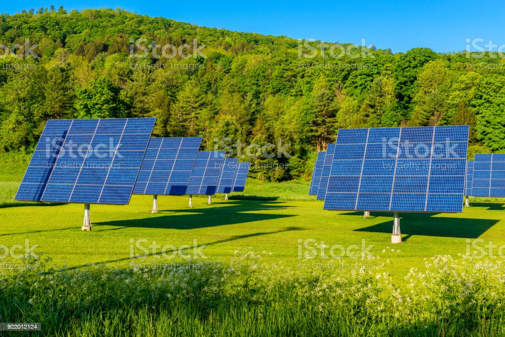 Solar Panels in Field in Vermont USA stock photo