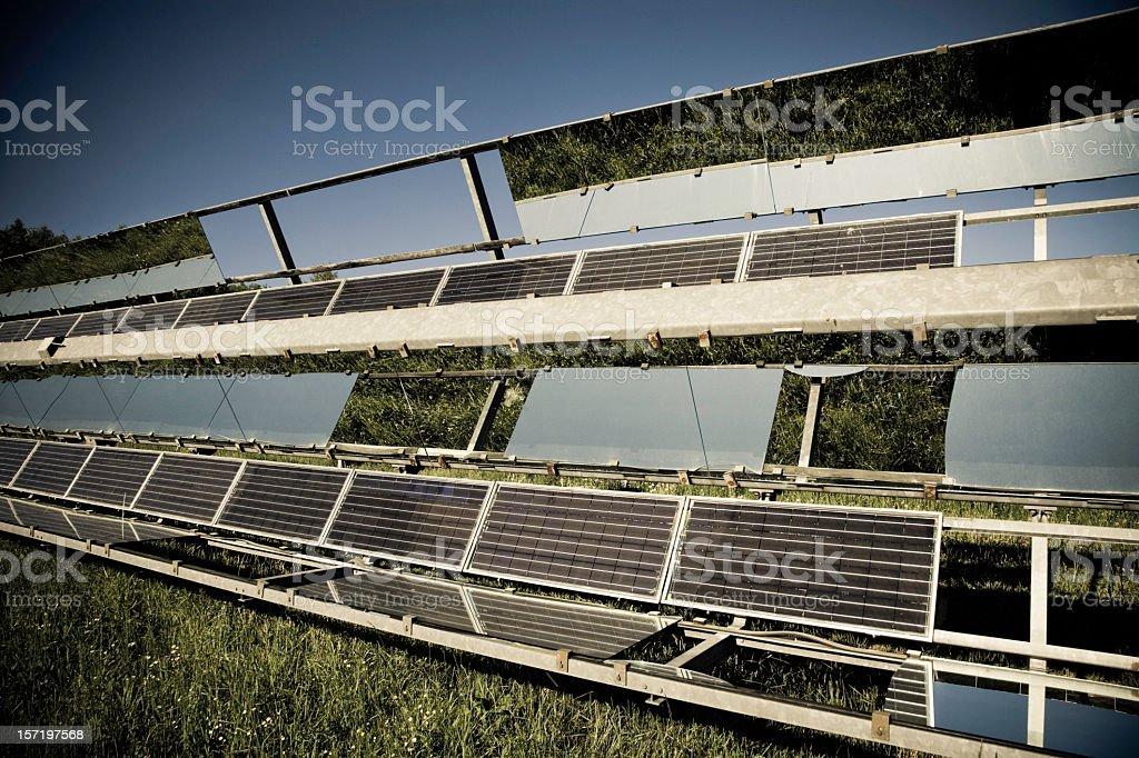 Solar Panels in Nature 07 (Retro) royalty-free stock photo