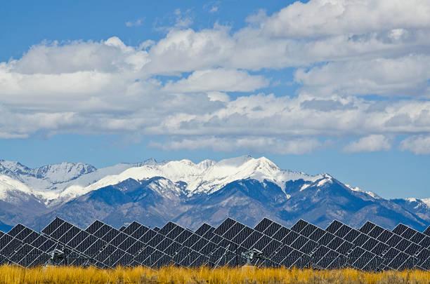 Solar Panels in Power Plant with Sangre de Cristo Mountain
