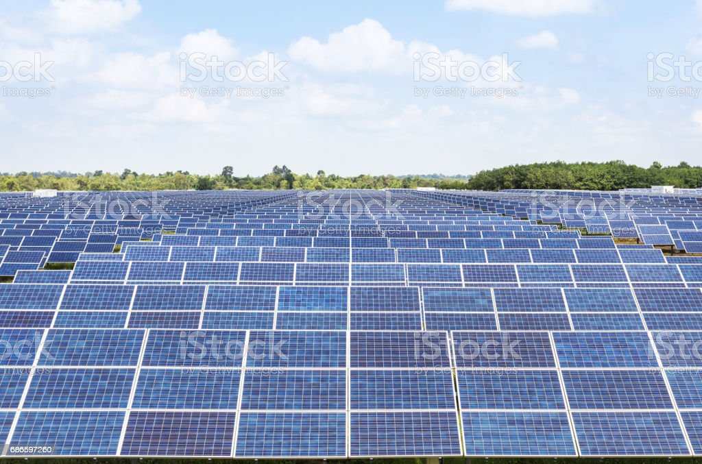 solar panels  in power station royalty-free stock photo