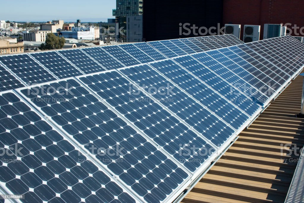 Solar Panels in Rows royalty-free stock photo