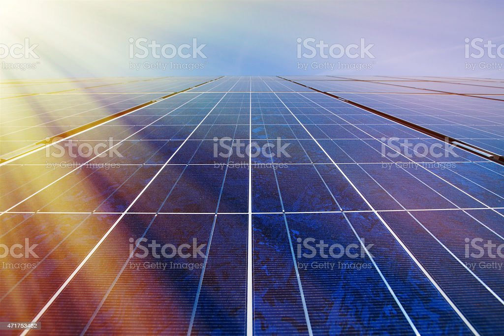 Solar panels in sunlight stock photo