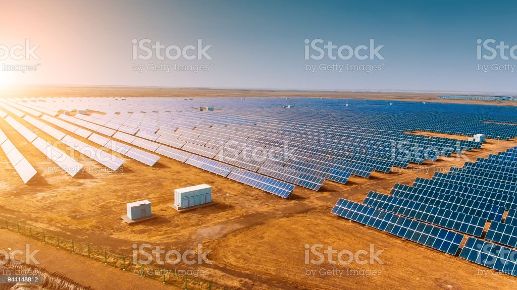 Solar panels in the field stock photo