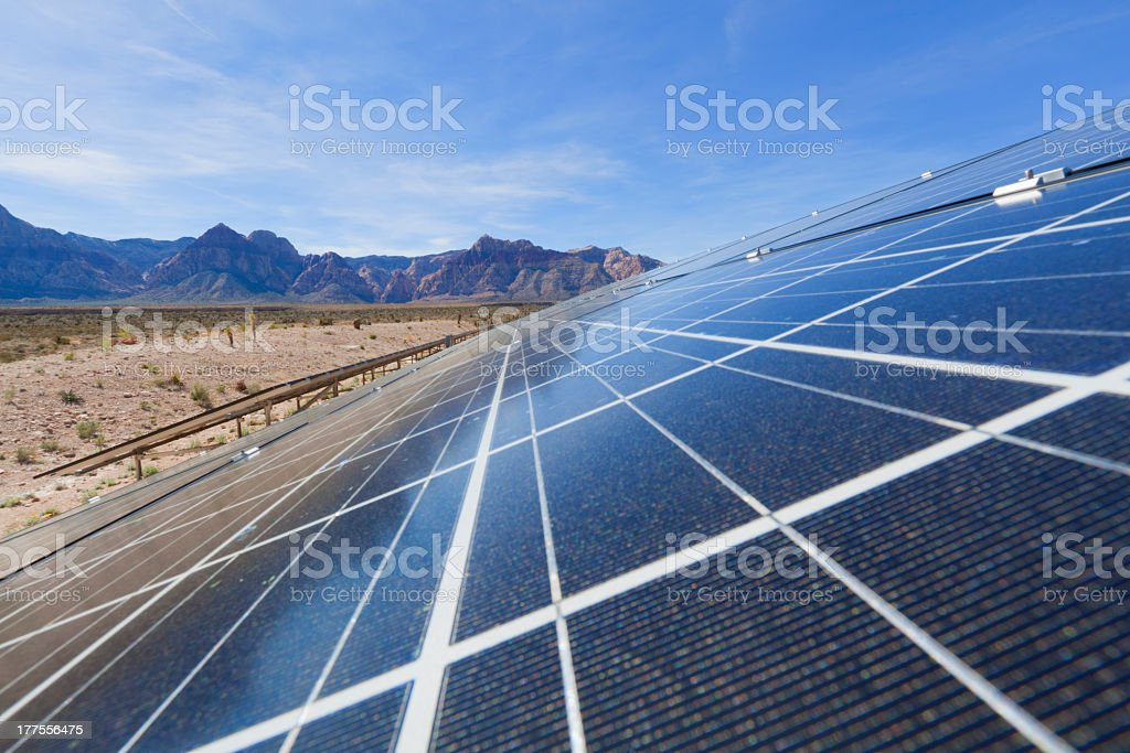 Solar panels in the Mojave Desert. royalty-free stock photo