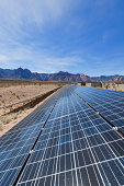 View of solar panels in the Mojave Desert.