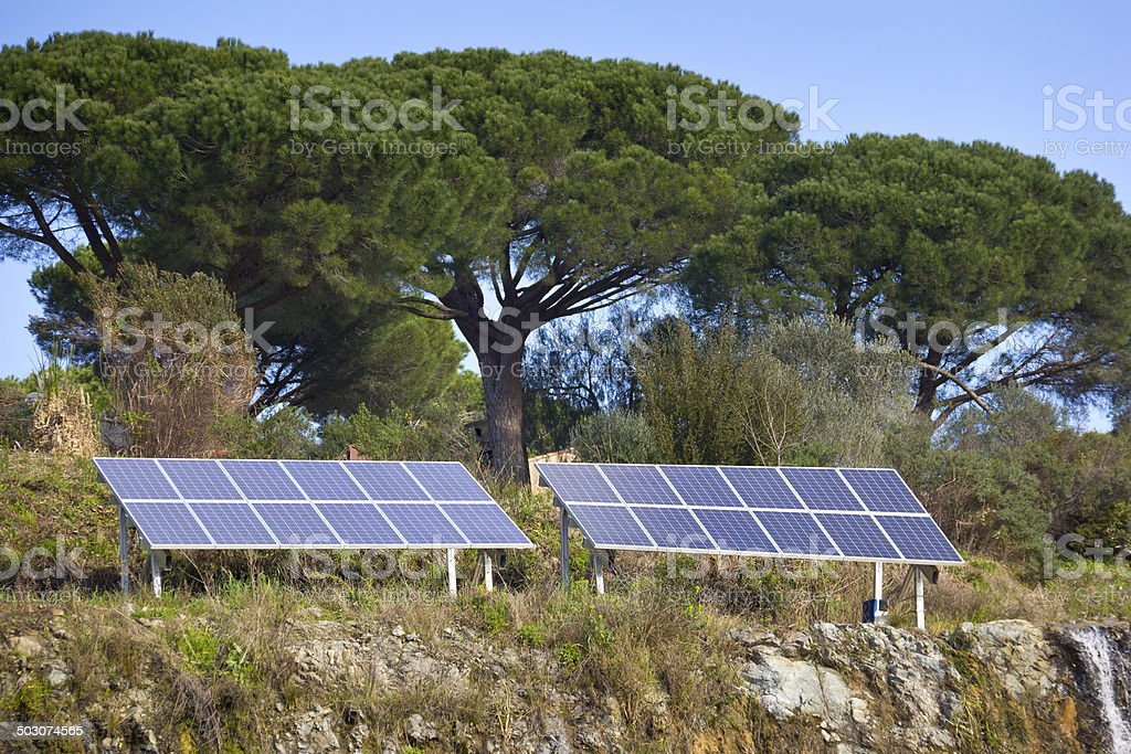 Solar Panels in the Provence stock photo