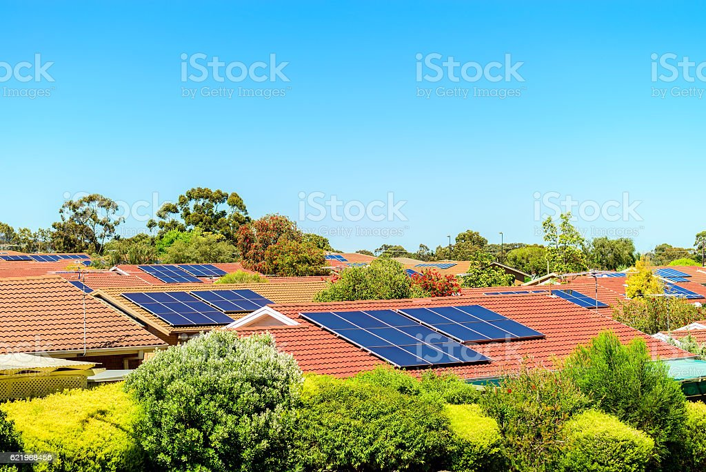 Solar panels installed on the roof stock photo