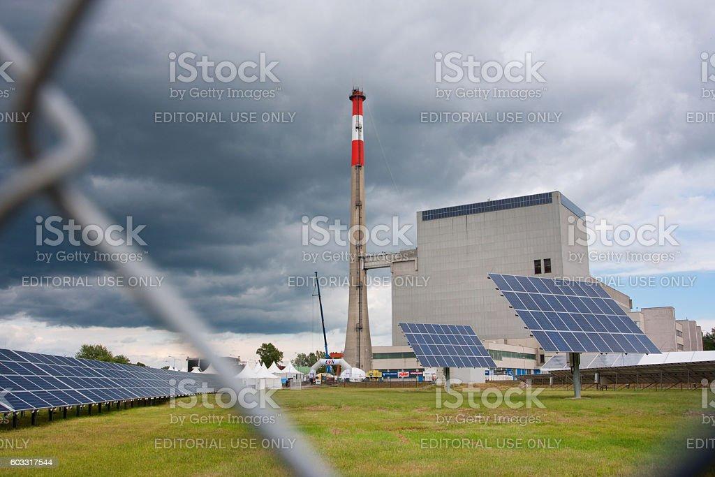 Solar panels near Zwentendorf Nuclear Power Plant stock photo