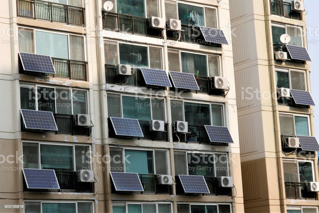 Solar panels on a apartment stock photo