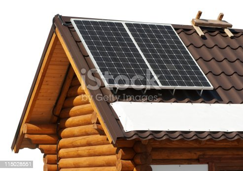 480763537 istock photo Solar panels on a roof of wooden house. 115028551