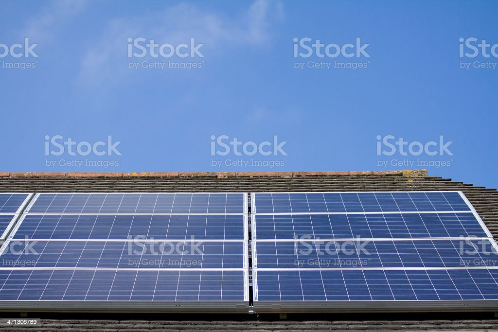 Solar Panels on a roof royalty-free stock photo