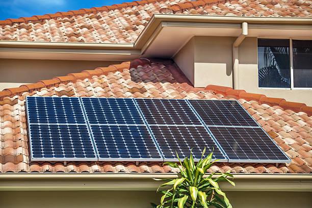 Solar panels on home stock photo