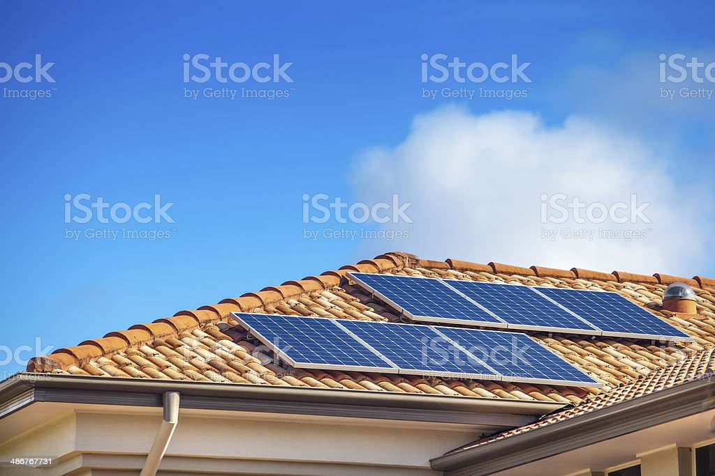 Solar panels on home stock photo