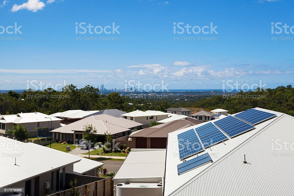 Solar panels on house stock photo