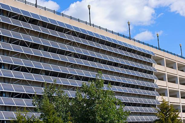 Solar Panels on Parking Garage stock photo