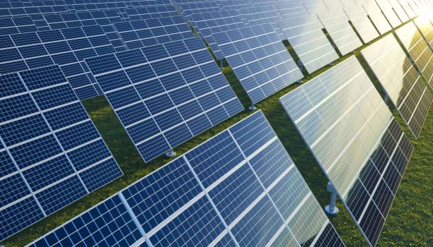 Sonnenkollektoren auf der Prärie – Foto