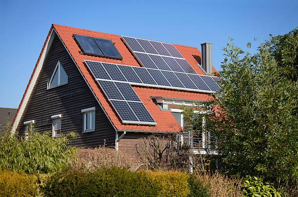 solar panels on the roof of a generic one-family house - solar panel bildbanksfoton och bilder