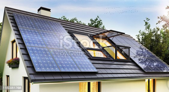 istock Solar panels on the roof of the modern house 1150051768