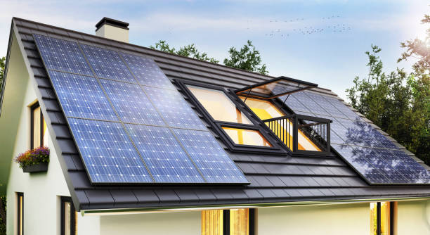 Solar panels on the roof of the modern house Solar panels on the roof of the house solar panels photos stock pictures, royalty-free photos & images