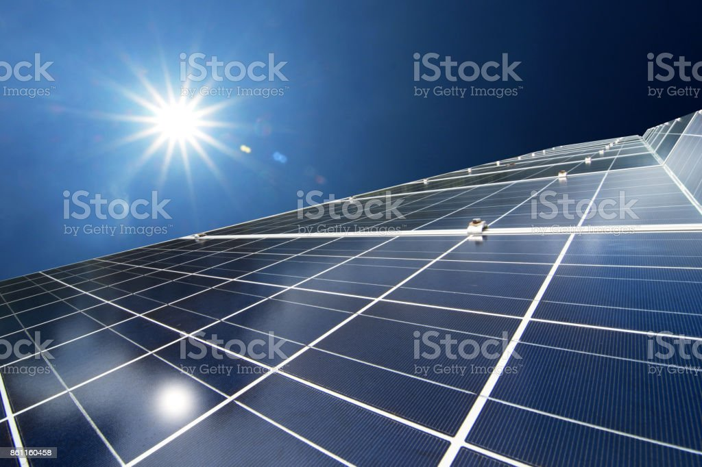 Solar panels or Solar cells energy for Electric power in Asia. stock photo