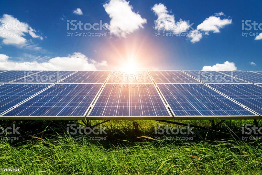 Solar panels, photovoltaic - alternative electricity source Solar panels, photovoltaic - alternative electricity source - selective focus, copy space Agricultural Field Stock Photo