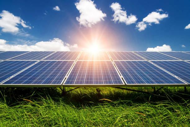 solar panels, photovoltaic - alternative electricity source - pannelli solari foto e immagini stock