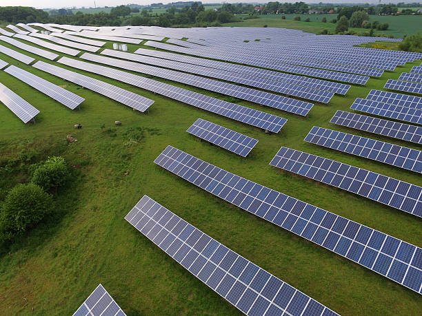 Solar panels Photovoltaic systems - aerial view – Foto