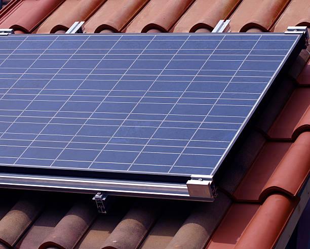 Solar panels stock photo