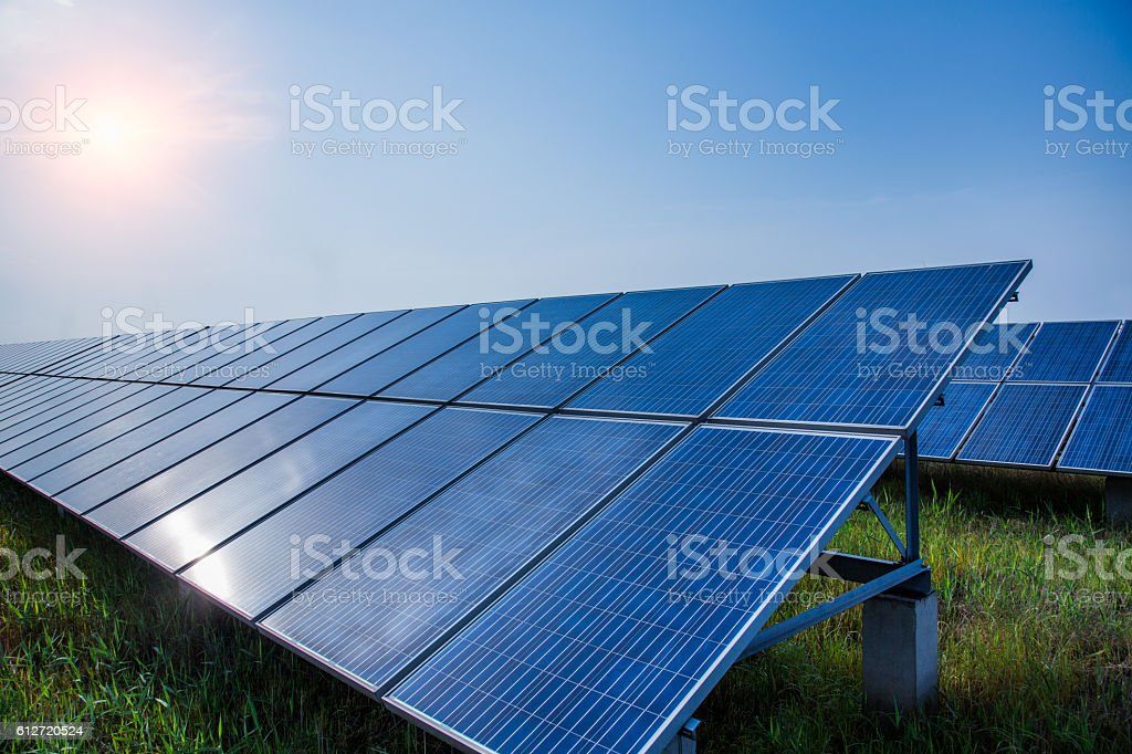 solar panels placed on a countryside meadow – Foto