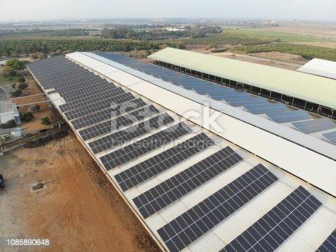 Solar panels renewable energy aerial view