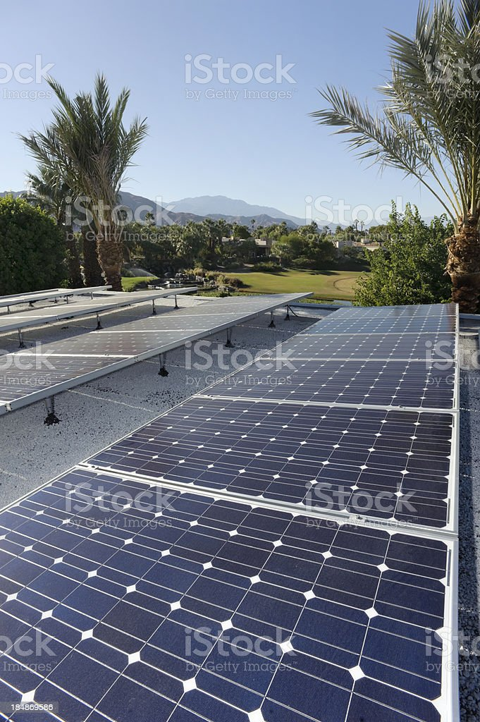 solar panels, residential home, southern california stock photo