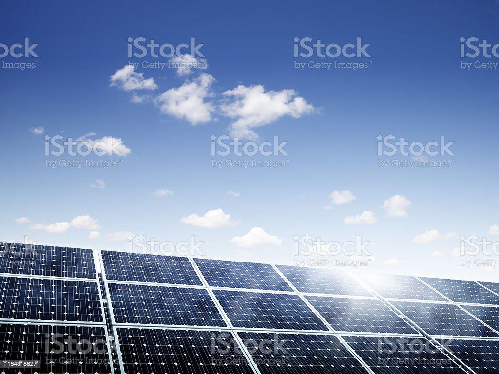 Solar Panels Under Summer Skies royalty-free stock photo