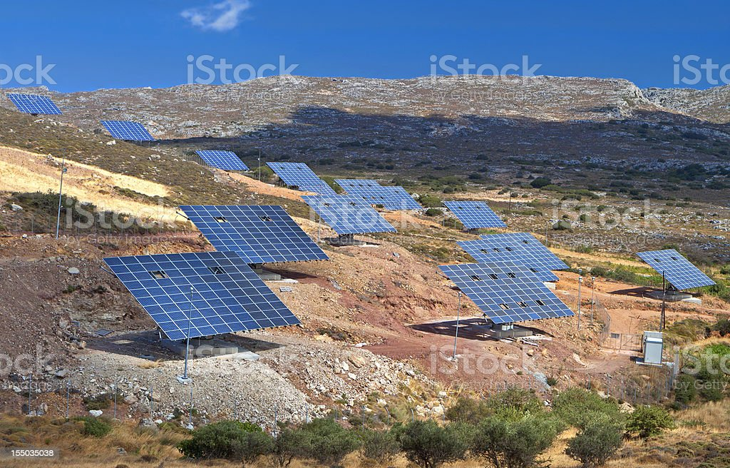 Solar panels units stock photo