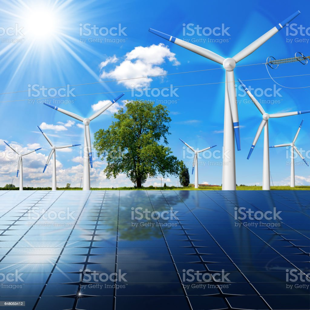 Solar Panels - Wind Turbines - Power Line stock photo