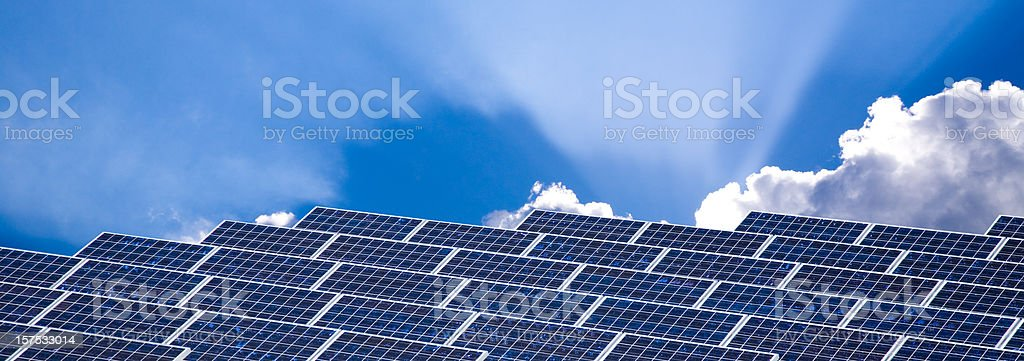 Solar Panels with Dramatic Sky royalty-free stock photo