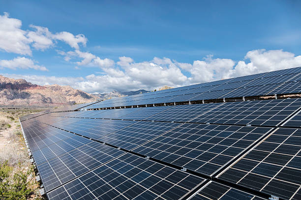 Solar Panels with Mojave Desert Backdrop stock photo