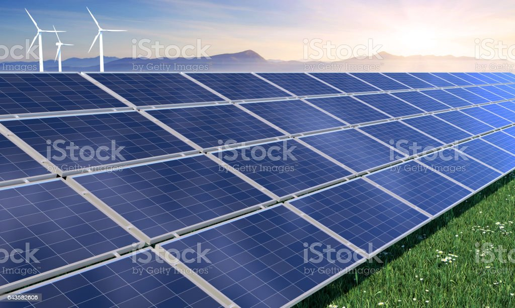 Solar Panels With Wind Turbines stock photo