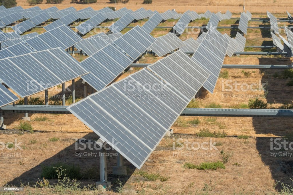 Planta de energía solar fotovoltaica - foto de stock