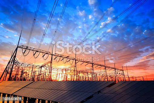 Solar photovoltaic panels and substations in the evening, Solar photovoltaic power generation facility