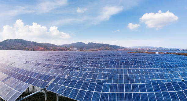 Solar photovoltaic power generation stock photo