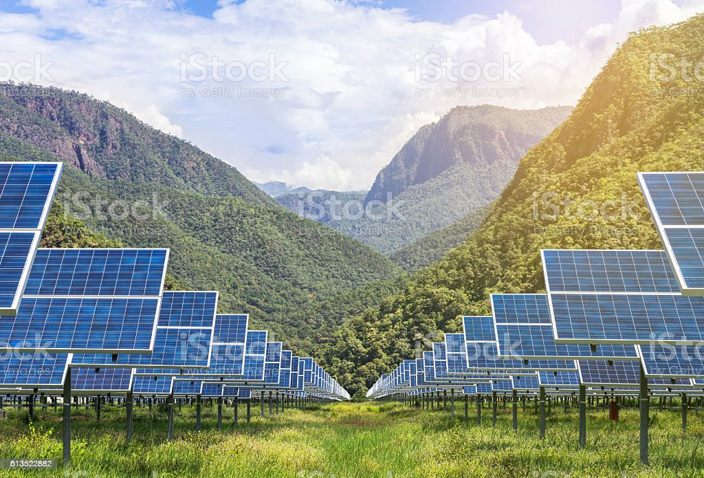 solar photovoltaics panels in solar power station stock photo