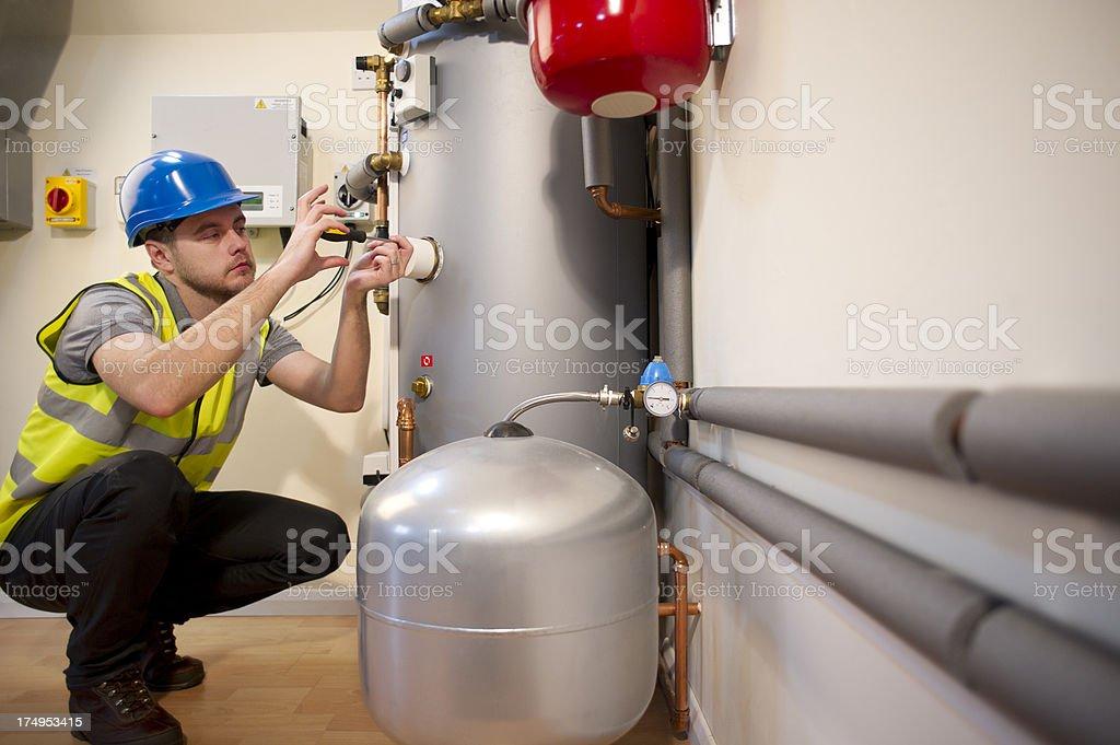 solar power engineer stock photo