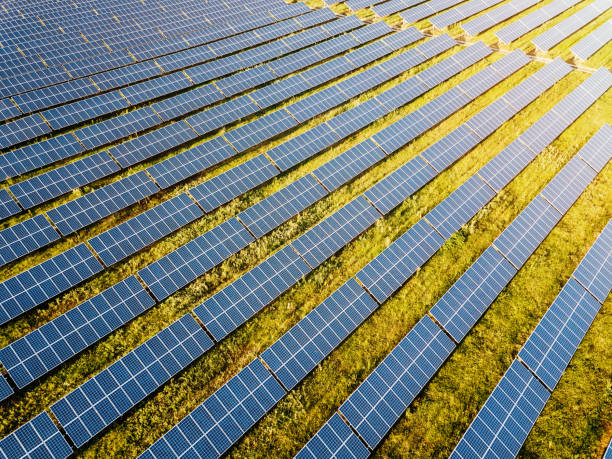 Solar power farm stock photo