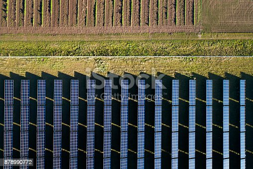 Solar power plant - aerial view