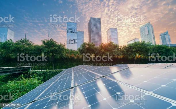 Solar power plant in modern city in sunsetsustainable renewable picture id1145255159?b=1&k=6&m=1145255159&s=612x612&h=d6buo apuct j1eplsdq5qoymgq1 cninv wwazy8wg=