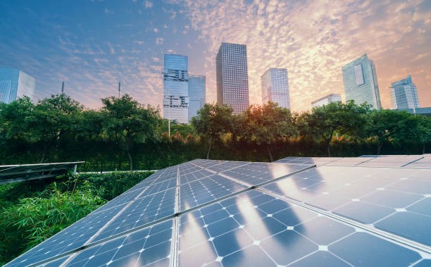 Solar power plant in modern city in sunsetsustainable renewable picture id1145255159?b=1&k=6&m=1145255159&s=612x612&w=0&h=l4ozd qbi 0bj43zcx9a1kdfssqsjh7x0jxqhswi3cc=